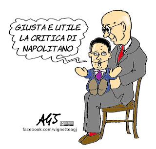 renzi, napolitano, referendum, personalizzazione, referendum costituzionale, satira, vignetta