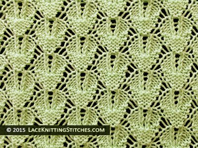 Laceknitting. Shaped Diamond Lace Stitch Pattern. Beautiful lace.