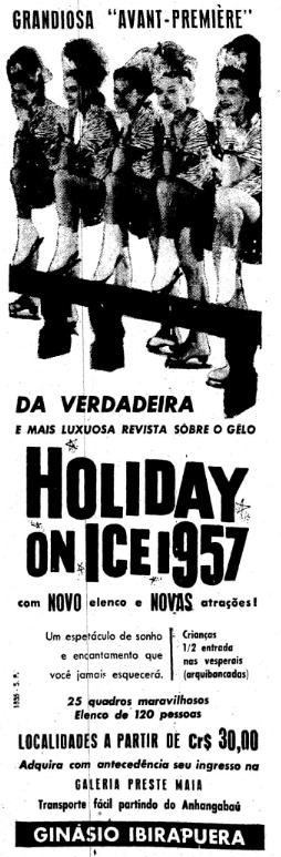 Propaganda antiga do espetáculo Holiday on Ice apresentado na cidade de São Paulo em 1957