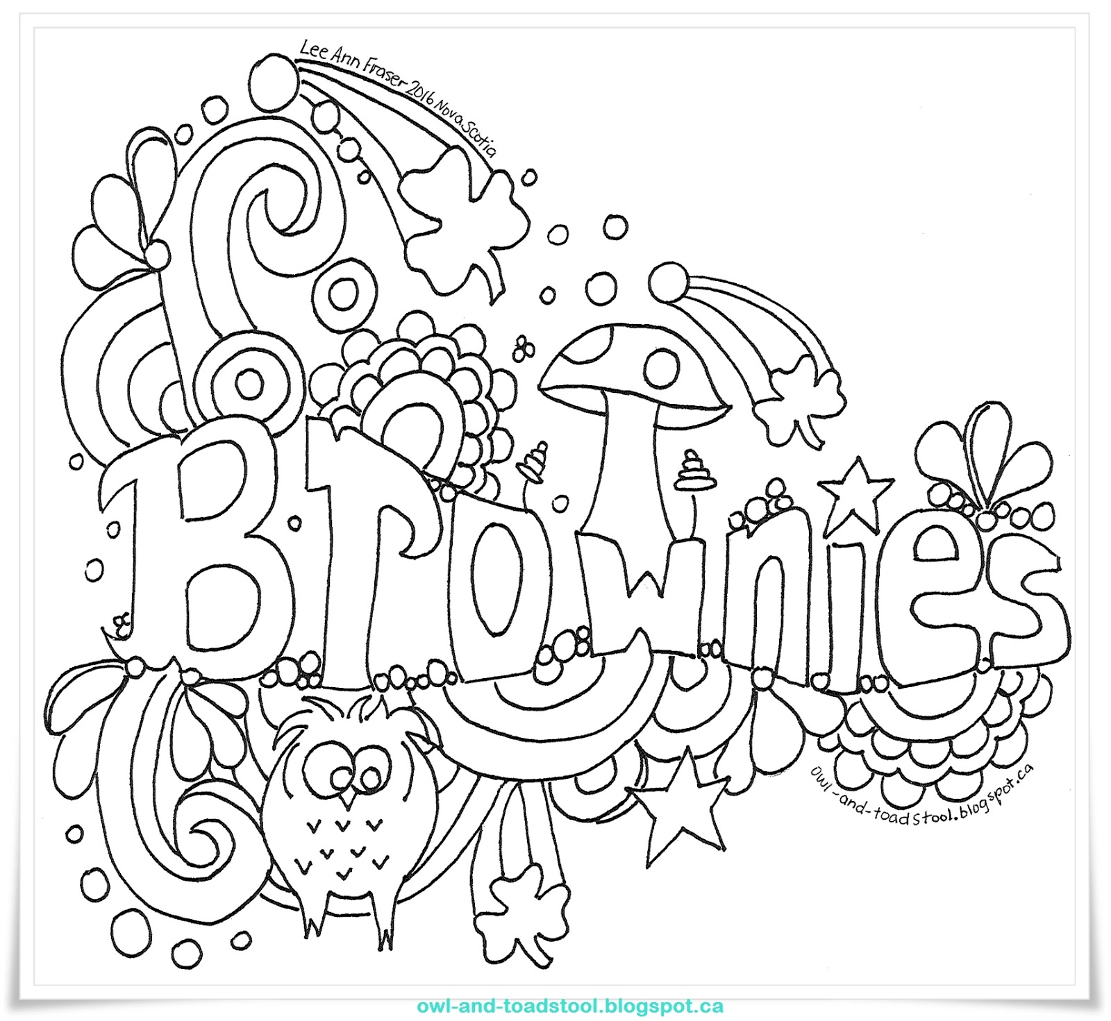 girl scout coloring pages pdf   Owl & Toadstool: Doodle- Brownies