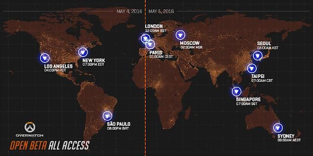 Mapa de Overwatch com as datas de lançamentos e horários para iniciar o Beta
