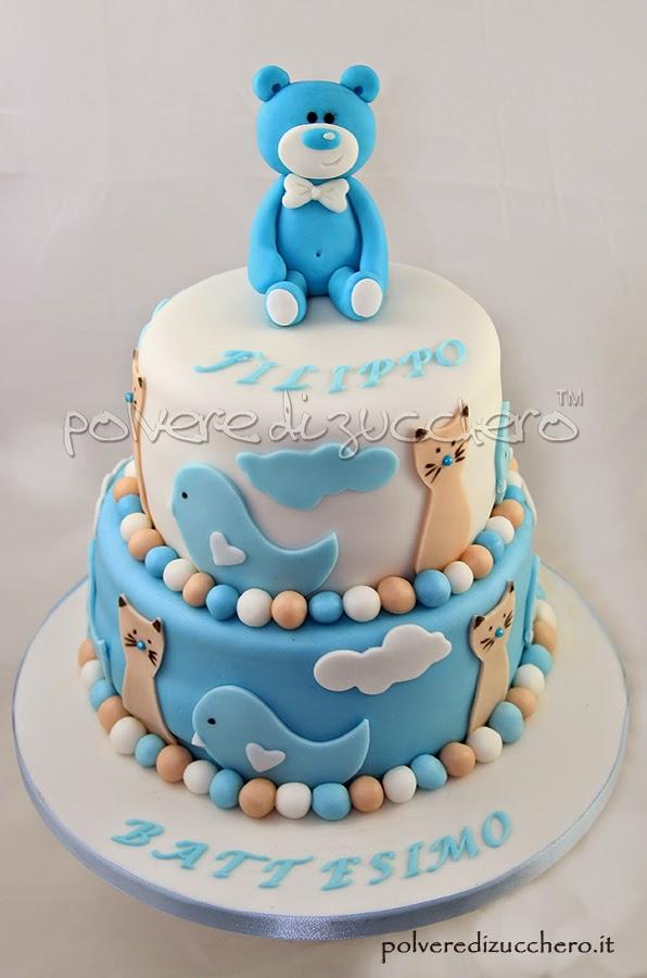Favoloso Torta Battesimo per un bimbo con orsetto in pasta di zucchero  TO72