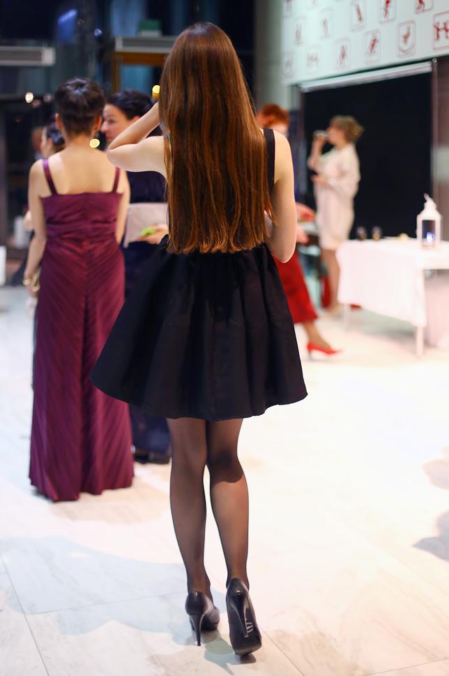 black dress black tights outfit fashion heels