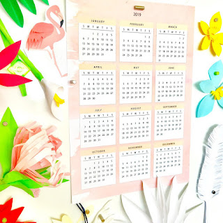 2019 year at a glance calendar printable
