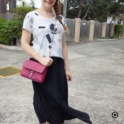 awayfromblue instagram | kids birthday party mum outfit printed tee maxi skirt rebecca minkoff edie cross body bag magenta