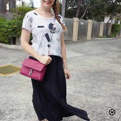 awayfromblue instagram | kids birthday party mum outfit printed tee maxi skirt rebecca minkoff edie cross body bag magenta