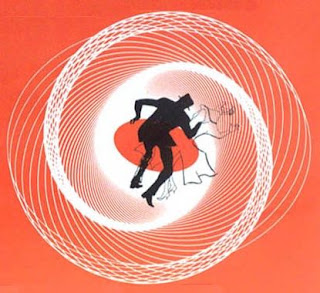 Saul Bass opening credits to Alfred Hitchcock's Vertigo - grey silhouette of a man falling into a red and white spiral