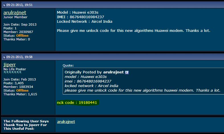 Unlock huawei datacard e303s