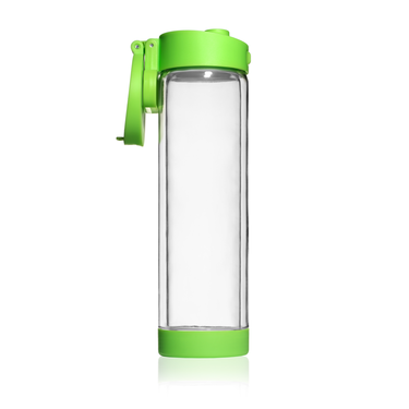 Glass water bottle in green by Glasstic