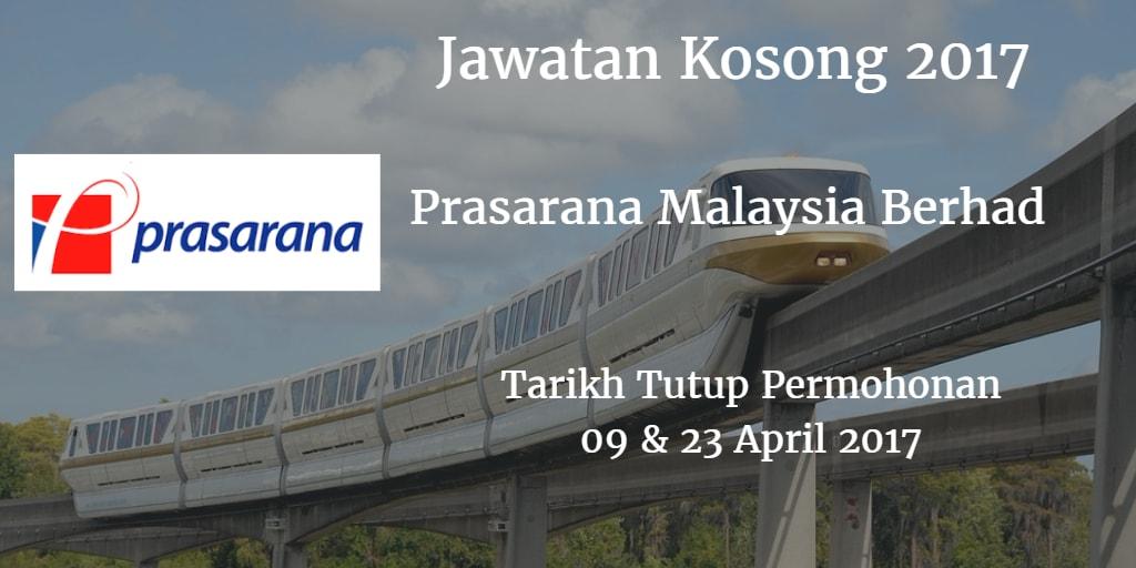 Jawatan Kosong Prasarana Malaysia Berhad 09 & 23 April 2017