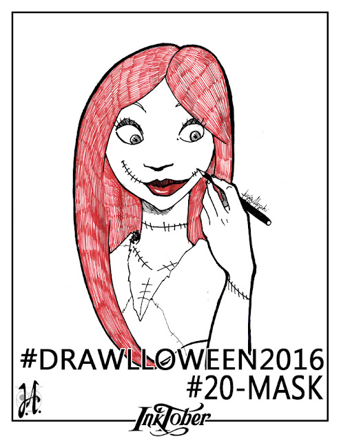 mask-sally-drawlloween-inktober-lucyowlart