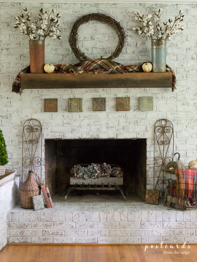 Mantel Decorating Ideas For The Holidays: Fall Mantel With Plaids, Metals, And Farmhouse Charm