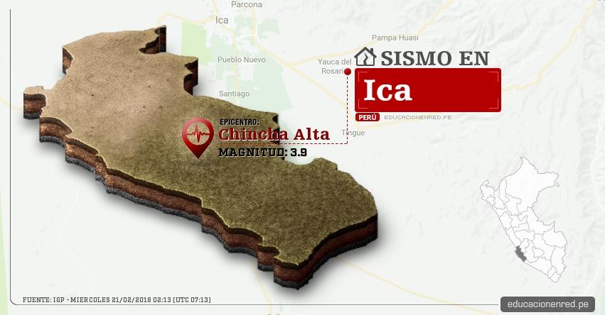Temblor en Ica de magnitud 3.9 (Hoy Miércoles 21 Febrero 2018) Sismo EPICENTRO Chincha Alta - Chincha - IGP - www.igp.gob.pe