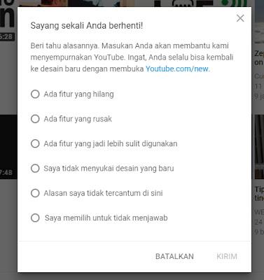 mengganti tampilan youtube ke versi lama Tidak Suka Tampilan Baru Youtube? Begini Cara Menggantinya ke Versi Lama
