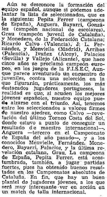 Match Internacional de Ajedrez España-Lisboa - Madrid 1962, recorte de La Vanguardia del 17 de mayo de 1962