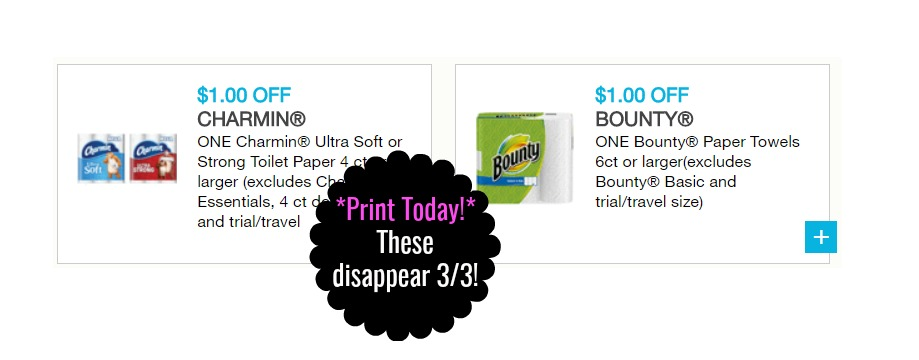 image about Bounty Printable Coupons named $1 off 1 Charmin $1 off 1 Bounty printable discount codes