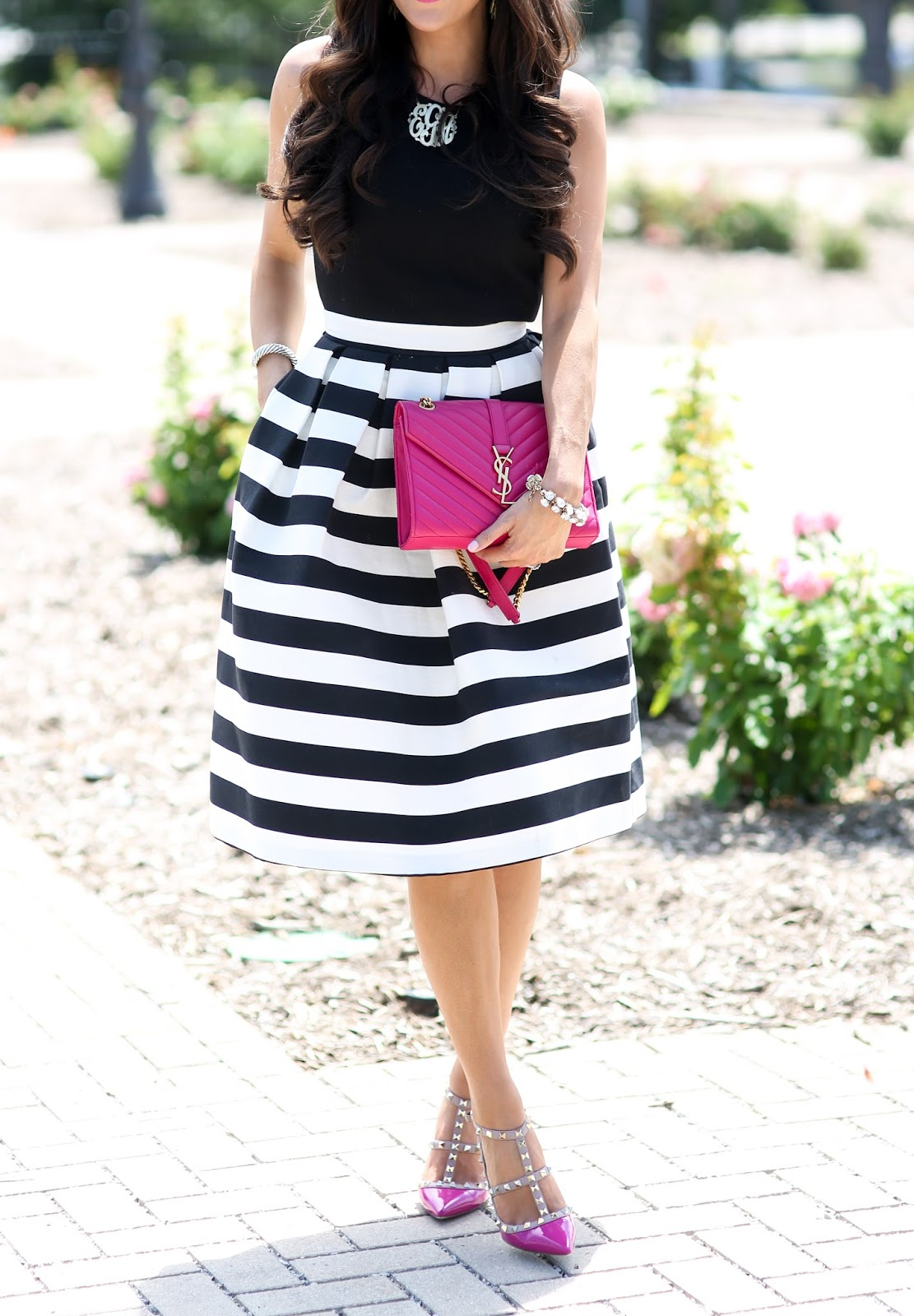 e4ec919a5a96a3 TOP: super old peplum top – similar style here & here | SKIRT: Topshop (LOVE!)  | HEELS: Valentino (pink color here) (dupes HERE & HERE) | SUNGLASSES:  Prada ...