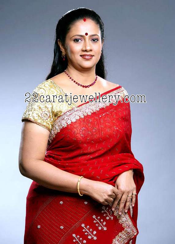 Laxmi Ramakrishnan In Ruby Necklace Jewellery Designs