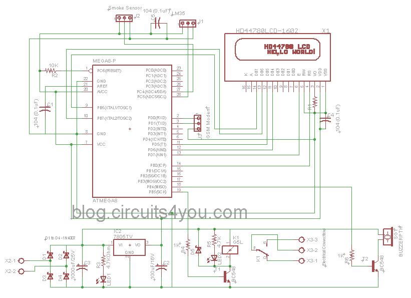 circuits4you com: GSM Based Fire Alarm System