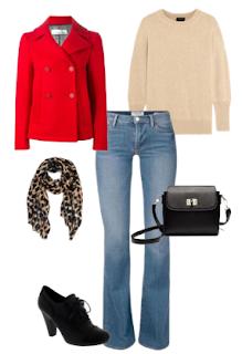 Look 1 Abril | Jeans simples e de corte direito, Camisola bege, Casaco vermelho de tamanho pelas ancas, Botins pretos de salto alto, Encharpe leopardo e mala preta a tiracolo