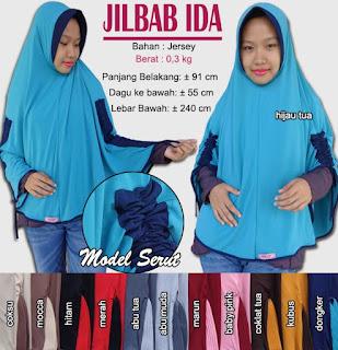 Jilbab serut jumbo bahan jersey - ida