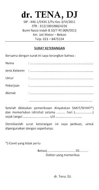 surat keterangan dari dokter