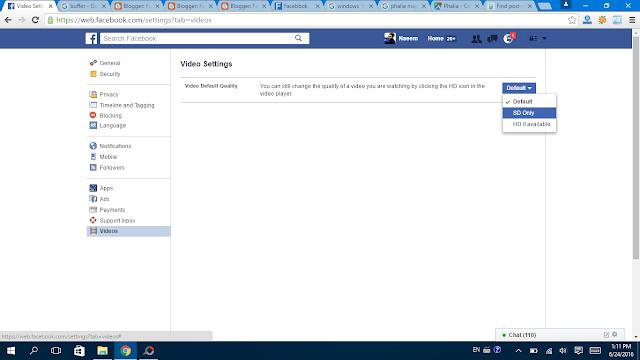 Facebook Videos Settings SD ot HD - Facebbok