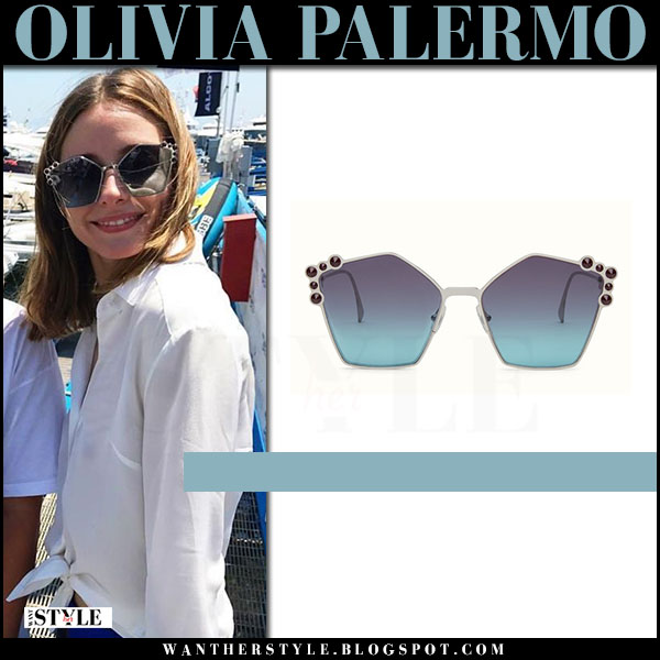 Olivia Palermo with pentagon shape sunglasses fendi what she wore july 2017 italy vacation