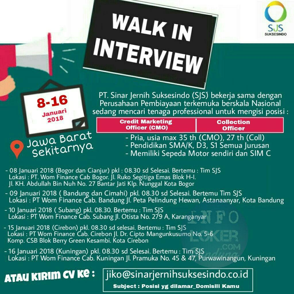 Walk In Interview PT. Sinar Jernih Suksesindo Januari 2018