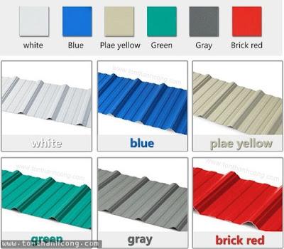 Tôn Nhựa Kháng Ăn Mòn, Chống Hóa Chất FPVC có màu trắng sữa, xanh dương, xanh lá, đỏ ngói, xám nhạt
