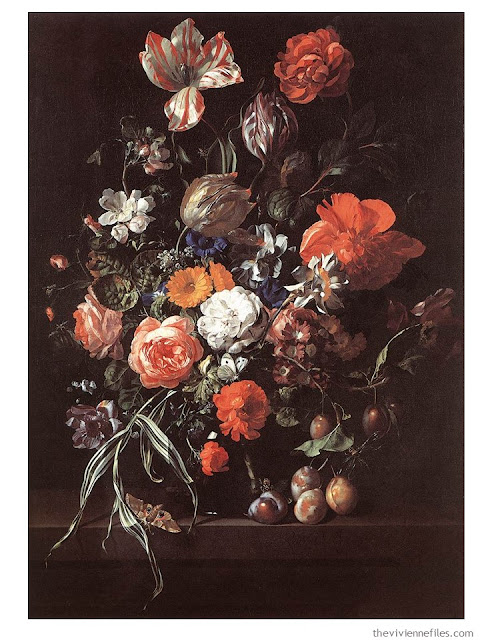 Still Life with Bouquet of Flowers and Plums by Rachel Ruysch