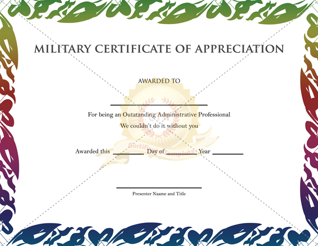 Military Certificate Of Appreciation Template  Army Certificate Of Achievement Template