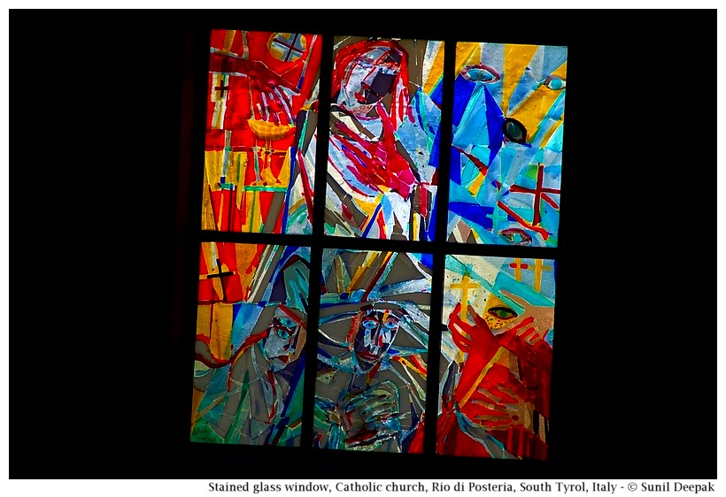 New stained glass windows, St Andrea church, Rio di Pusteria, South Tyrol, Italy - Images by Sunil Deepak