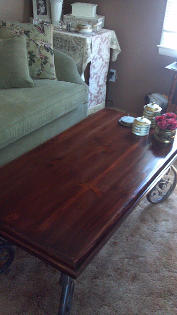 Refinished pine coffee table