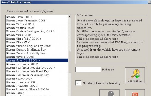 SBB Key Programmer Register Nissan Note 2007 Chip Key | SBB Key
