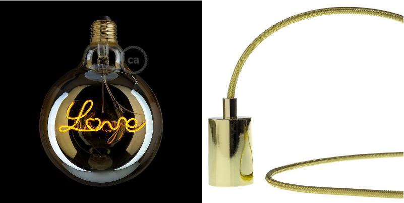 lampada di design lampadina LOVE con cavo elettrico in tessuto