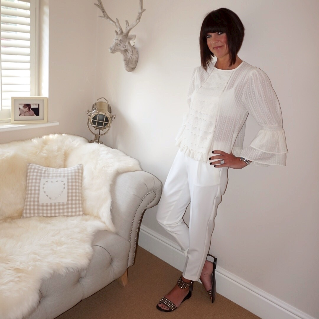 my midlife fashion, zara frilled plumetis blouse, marks and spencer tapered trousers, ash studded flat sandals