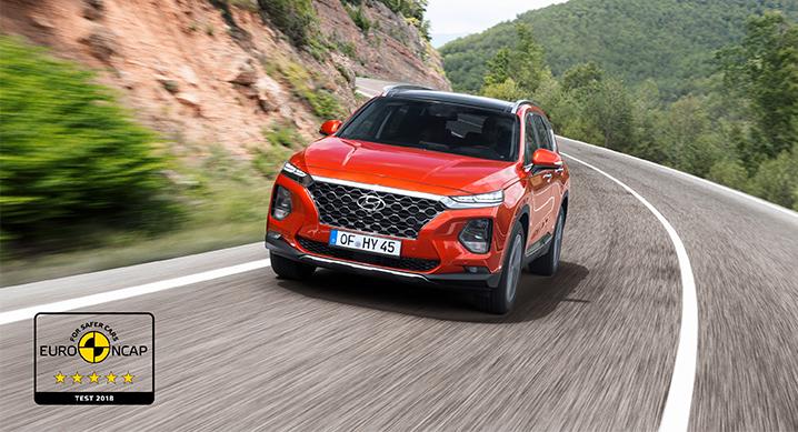 싼타페, 유럽 신차 안전성 평가 프로그램 유로NCAP 최고 등급 별 다섯 획득