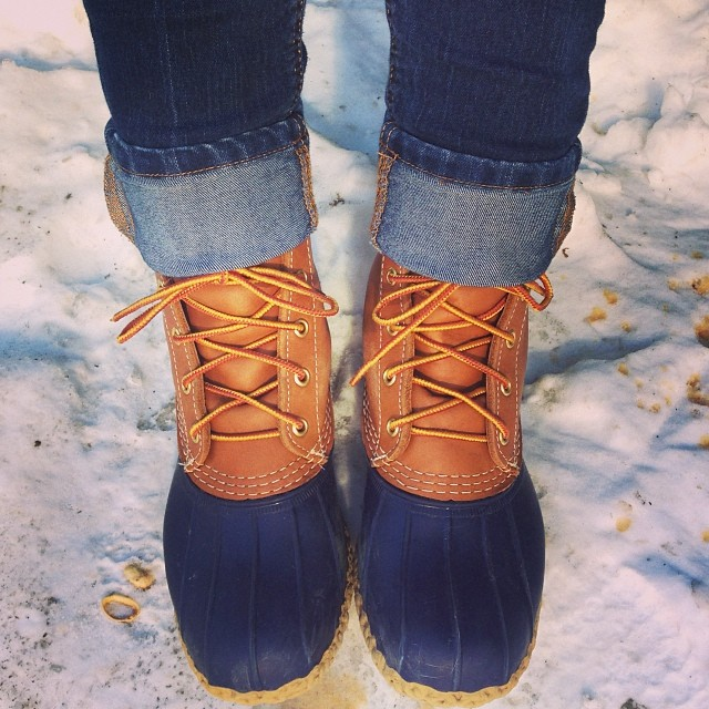 LL Bean Duck Boots by popular New York fashion blogger Covering the Bases