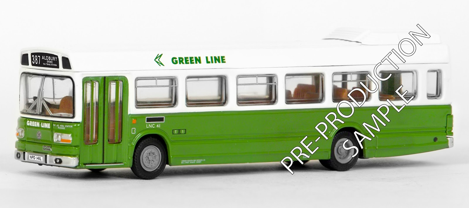 EFE PRE-PRO SAMPLE 17311 - Leyland National MkI Long 1 Door - Green Line N.B.C. Registration number NPD 141L, fleet number LNC 41. Works route 387 to Aldbury. Scheduled for a February release