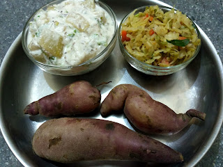 Steamed Sweet Potato, Ash gourd aviyal with Coconut Curd, Cabbage Carrot Snake gourd poriyal
