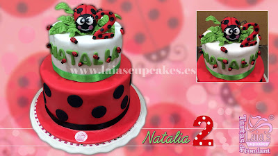 tarta personalizada fondant modelado 3d mariquita cumpleaños celabración bicho bug ladybug laia's cupcakes puerto sagunto
