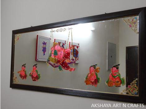 Ganesha Glass Painting on Mirror