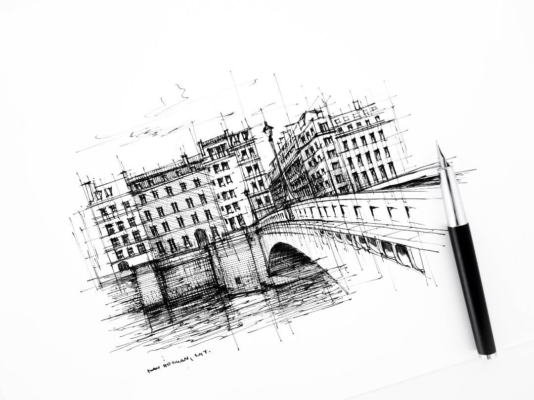 09-Pont-de-la-Tournelle-Dan-Hogman-Urban-Sketches-of-Paris-in-France-www-designstack-co