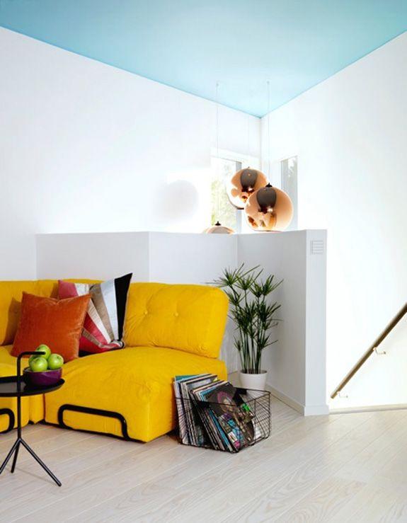 Aqua painted ceiling