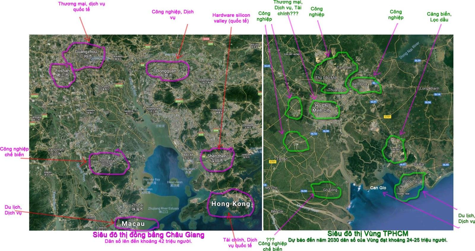 Mô tả so sánh sự tương đồng giữa hai vùng đô thị