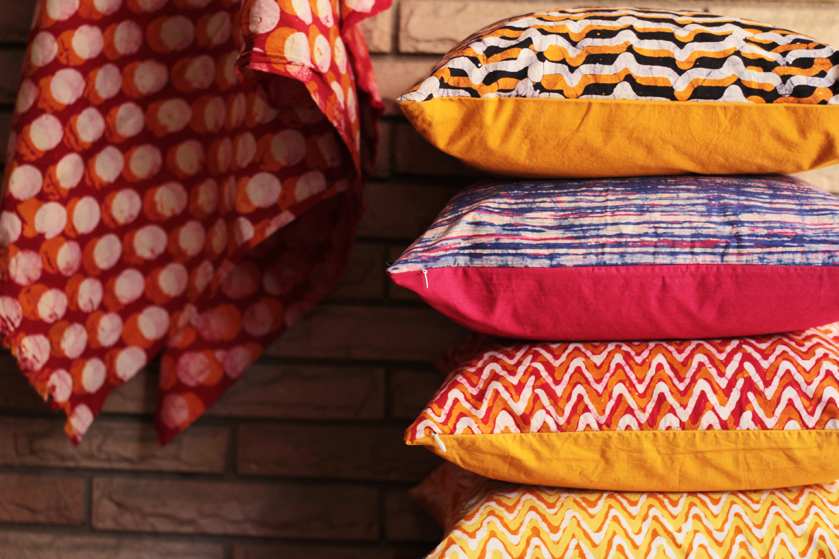 Stacked Batik Cushions Covers by Kosher Designs LLP