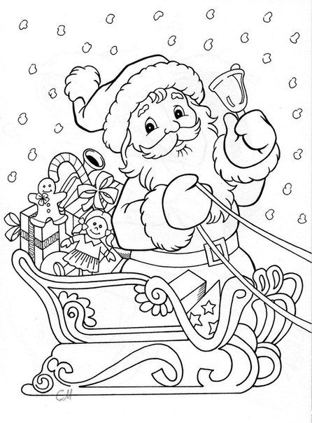 Tranh tô màu ông già Noel trên xe chở quà