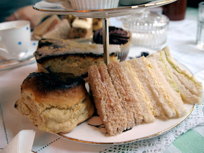 Soho's Secret Tearoom London scone and sandwiches