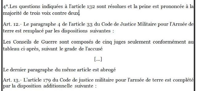 Code uniforme de justice militaire datant d'un mineur